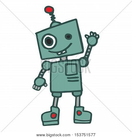 Cute robbot T-shirt design vector illustration collection
