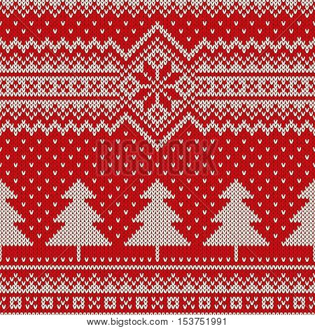 Winter Holiday Seamless Knitting Pattern with a Christmas Trees. Christmas Knitting Sweater Design