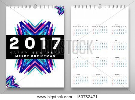 Calendar for 2017 with Geometric Pattern - Vector Illustration