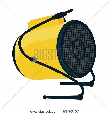 Industrial electric fan heater icon. Construction heat gun instrument symbol. Equipment for stretched ceiling installation. Vector illustration