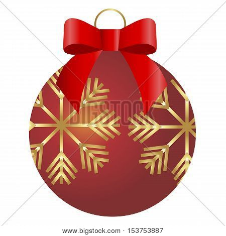 colored icon Christmas red ball with gold snowflakes and a red bow on a white background. Pattern for decoration or design. Vector illustration