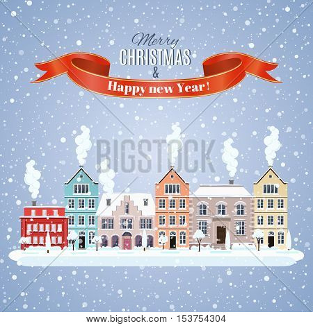 happy new year and merry Christmas winter old town street with trees. concept for greeting and postal card, invitation, template, vector illustration