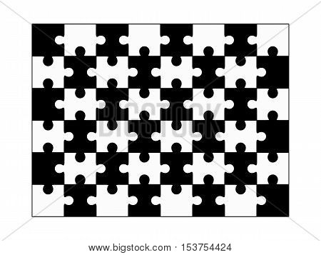 Jigsaw puzzle vector, blank simple template forty-eight elements