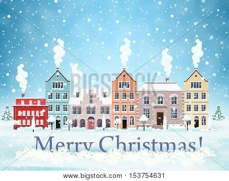 happy new year and merry Christmas winter old town street with trees. Santa Claus with deers in sky above the city. concept for greeting and postal card, invitation, template, vector illustration
