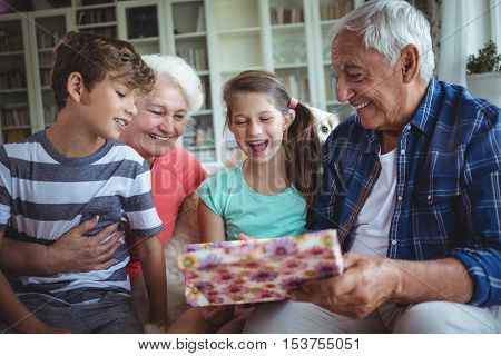 Grandparents and grandchildren looking at surprise gift in living room at home