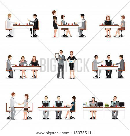 Business people meeting isolated on white office workers taking on phone presentation coworker teamwork office people life Cartoon character flat design vector illustration.