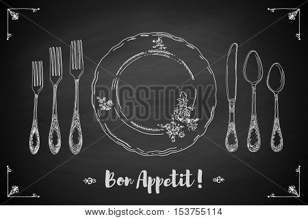 Hand drawn illustration of curly ornamental silver tableware, plate a black chalkboard background. Table setting set. Hand drawn design element. Sketch, vintage. Vector Illustration.