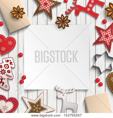 Abstract christmas background, blank sheet of paper lying among small scandinavian styled decorations on white wooden desk, inspired by flat lay style, vector illustration, eps 10 with transparency