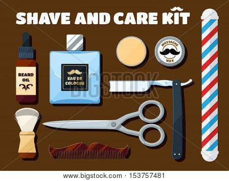 Shaving tools and accessories set for hipsters