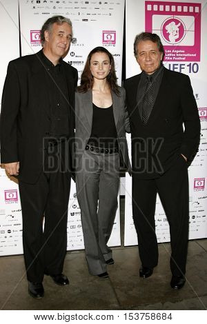 Director Ricardo Preve, Mia Maestro and Edward James Olmos at the LALIFF screening of 'Chagas: A Hidden Affliction' held at the Egyptian Arena Theatre in Hollywood, USA on October 7, 2006.