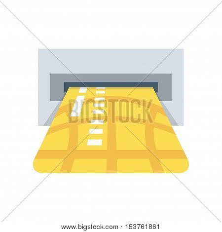 ATM credit card slot vector illustration, cash machine inserting credit card, electronic device, flat icon, isolated on white background