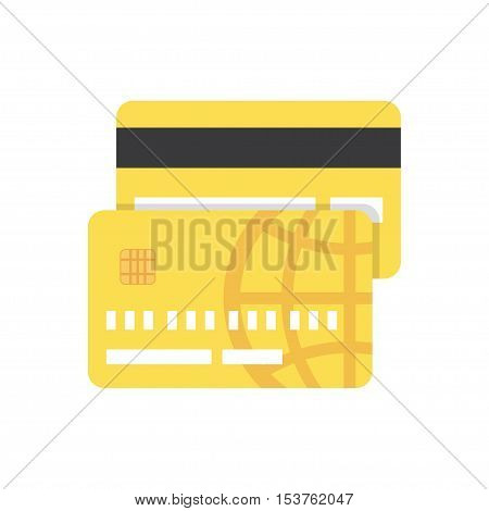 gold Credit Card. flat icon on white background. Vector illustration.