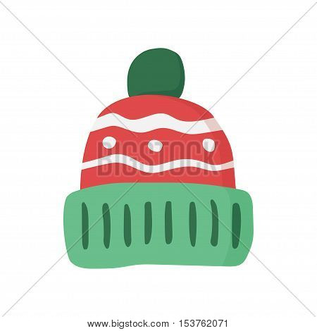 Knitted red cap, Winter hat icon. Vector illustration