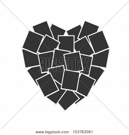Realistic paper photograph with shadow isolated on white background. Retro photo frames are collected in the form of heart. Vintage photo frames vector.