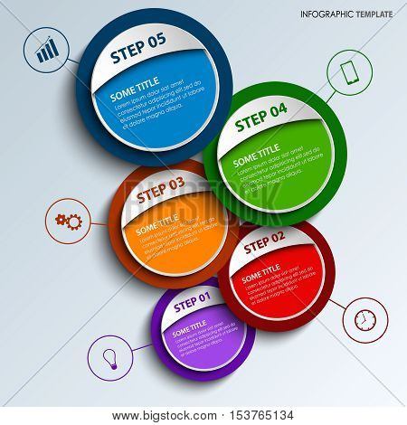 Info graphic with colored round design labels template vector eps 10