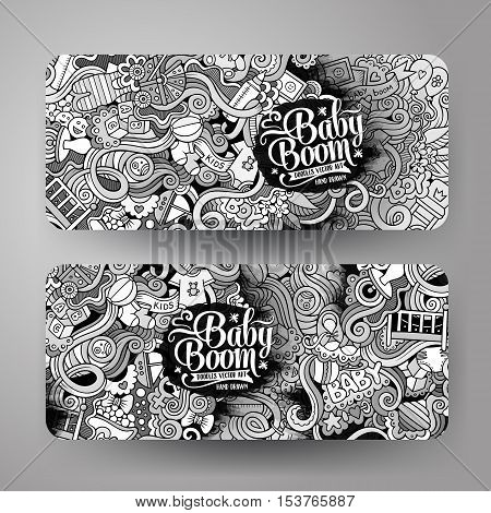 Cartoon cute line art vector hand drawn doodles baby corporate identity. 2 horizontal banners design. Templates set