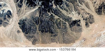 Abstract photography of landscapes of deserts of Africa from the air, allegory
