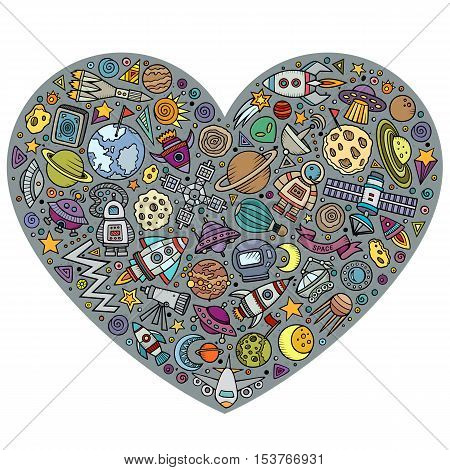 Colorful vector hand drawn set of Spacel cartoon doodle objects, symbols and items. Heart form composition