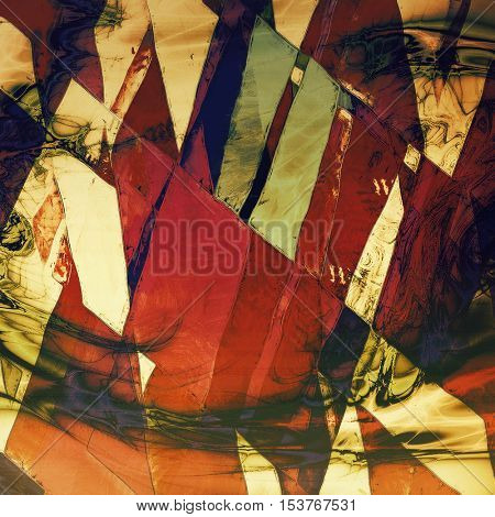 Geometric ancient texture or damaged old style background with vintage grungy design elements and different color patterns: yellow (beige); brown; green; blue; red (orange); pink