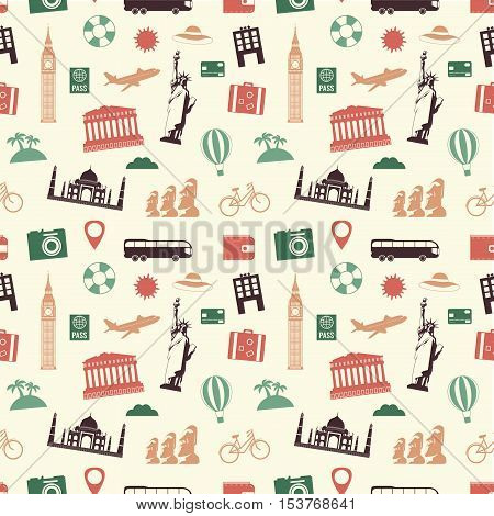 Travel and tourism seamless pattern. Vector illustration