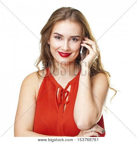 Young beautiful woman talking on cell phone, isolated on white background