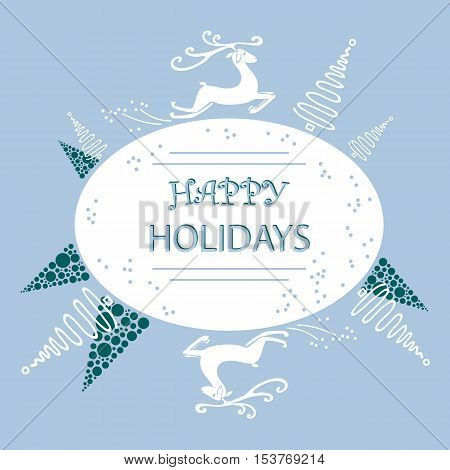 holiday card on a blue background with Christmas trees and North running deer