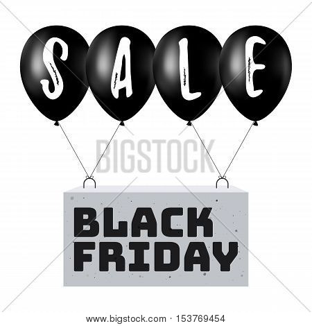 Black Balloons with the inscription sale lifts the concrete block with the inscription Black Friday. Sale Concept of Discount. Vector illustration for web design banner, poster or print card
