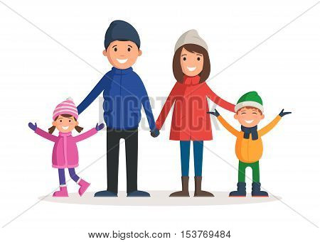 Happy family in winter clothes. Parents with children: father, mother, son and daughter enjoy the winter. Vector illustration in a cartoon style template for web banner design, flyer, poster or greeting card