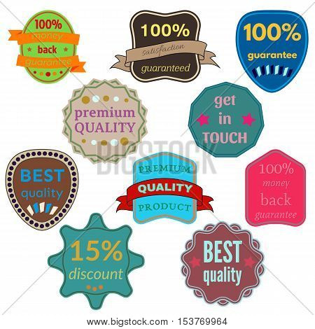 Set of Ten Vector Badges with Ribbons. Web stickers and labels. Isolated vector illustration.