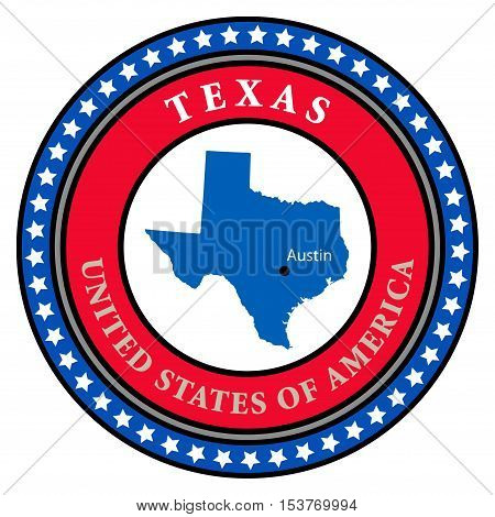 Label with name and map of Texas, vector illustration