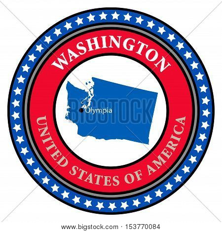 Label with name and map of Washington, vector illustration