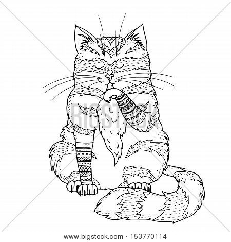 vector illustration of a doodle cartoon cat cute outline drawing of a cat licking his paw boho cat picture great for coloring book or t shirt print