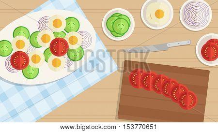 Vector Illustration Background. Cuisine Food Design. Ingredients For Cooking Egg Salad. Cucumber, On