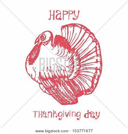 Hand drawn vector Thanksgiving Day background. Turkey and hand written words