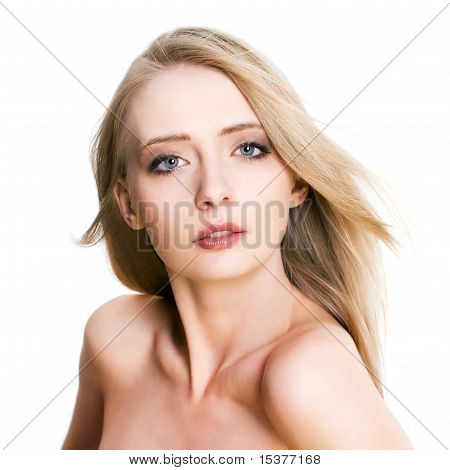 Natural beautiful woman, isolated on white