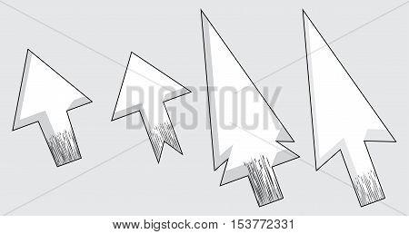 Vector modern set of arrow cursors symbol icons.