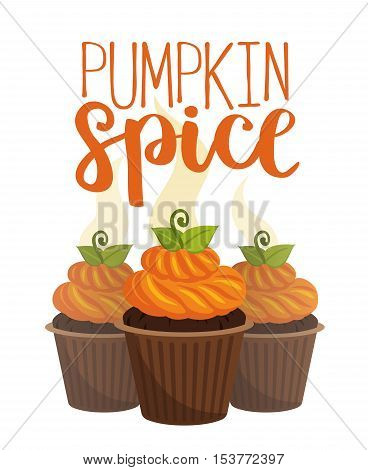 Vector Illustration With Pumpkin Spice Cupcakes. Halloween Poster Card.