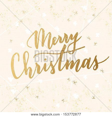 Vector hand written greeting Merry Christmas. Elegant lettering. Winter background. Pastel color holiday card with modern calligraphy.