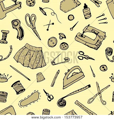 Vector hand drawn sewing pattern. Sewing accessories and equipment.