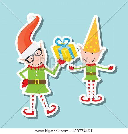 vector Illustration of the playful Santa elves on blue background