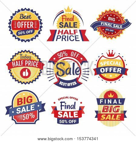 Set of sale tags badges and labels vector illustration