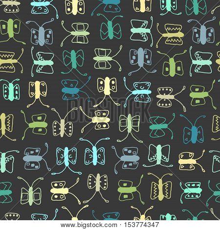 Butterfly minimalist trendy seamless vector pattern, background.