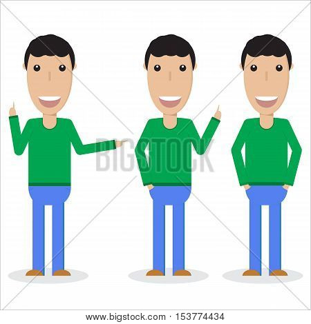 Set of three male persons in different poses flat vector image isolated on white