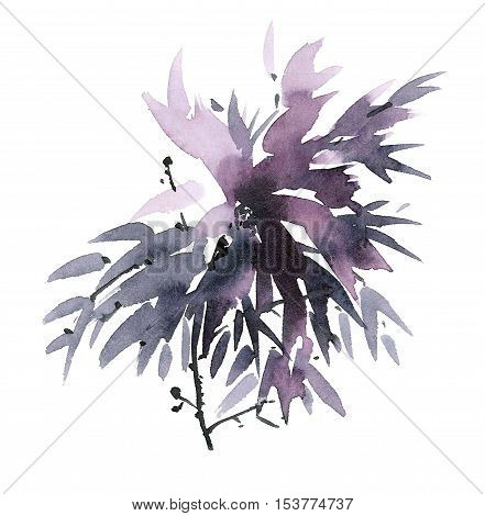 Watercolor and ink illustration of flower in style sumi-e u-sin. Oriental traditional painting. Decorative background.