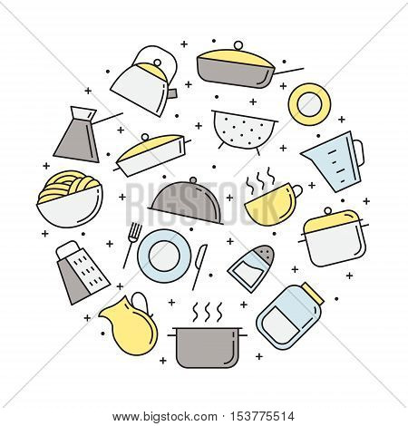 Crockery and food circle illustration. Clean and simple outline design.