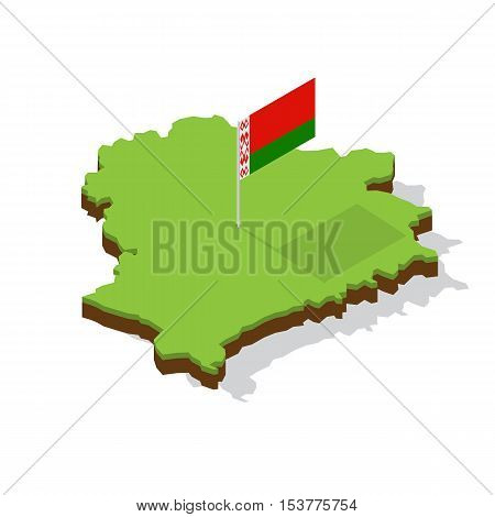 belarus map with flag isometric vector illustration