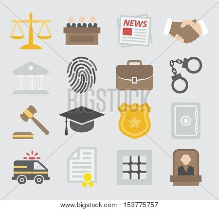 Law colorful icons set on gray background