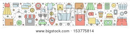 Shopping horizontal vector illustration. Clean and simple outline design.