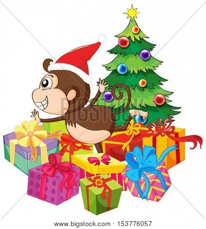 Christmas theme with monkey and tree illustration
