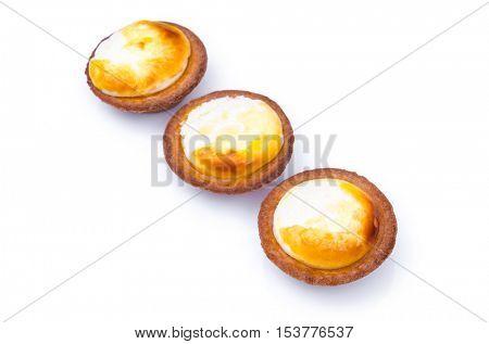 Cheese tart on white background